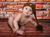 bobas w czapce na podłodze na tle cegieł